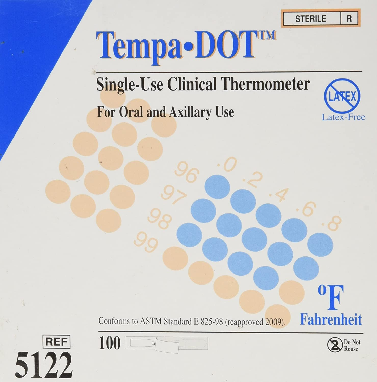 Tempa-dot Disposable Thermometer Sterile, 100 Count Everready First Aid 5122