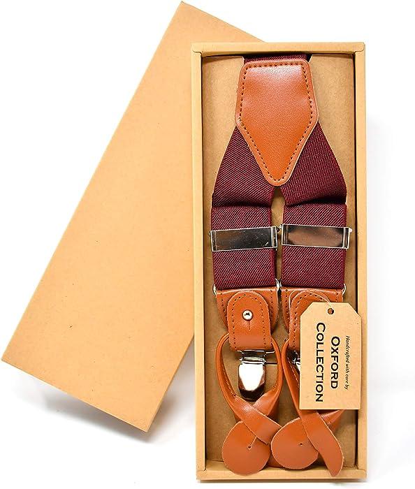 cf039abe9 Oxford Collection Tirantes Rojo Burdeos de alta calidad totalmente  Ajustables - 3 Clips o 6 Botones (personalizables) - Forma de Y - Clásico