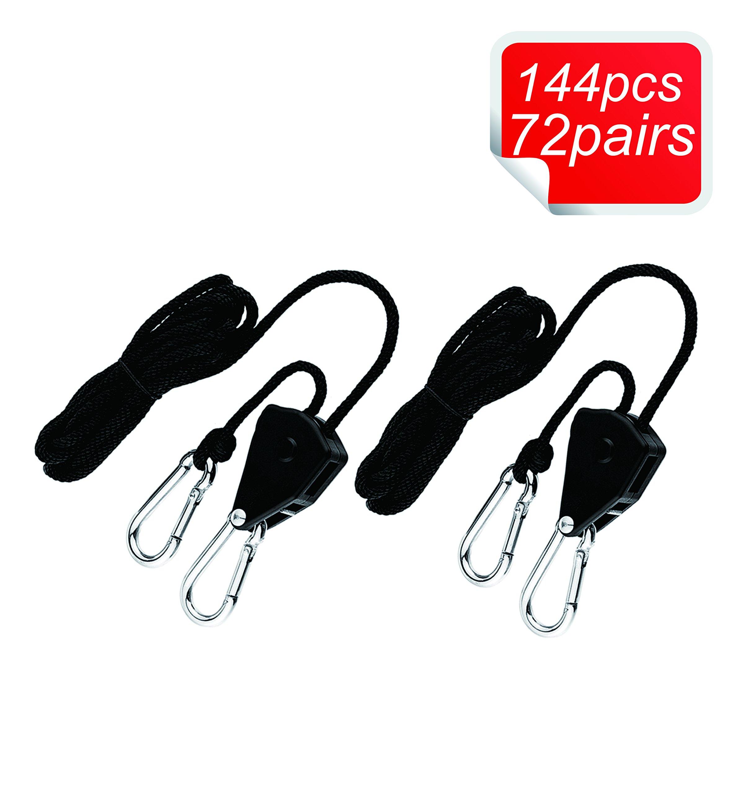 Oppolite 144PCS/72 Pairs1/8'' 150lb Grow Light Rope Ratchet Hangers Heavy Duty Adjustable Clip Grow Light Reflectors Hangers, 150lb Capacity