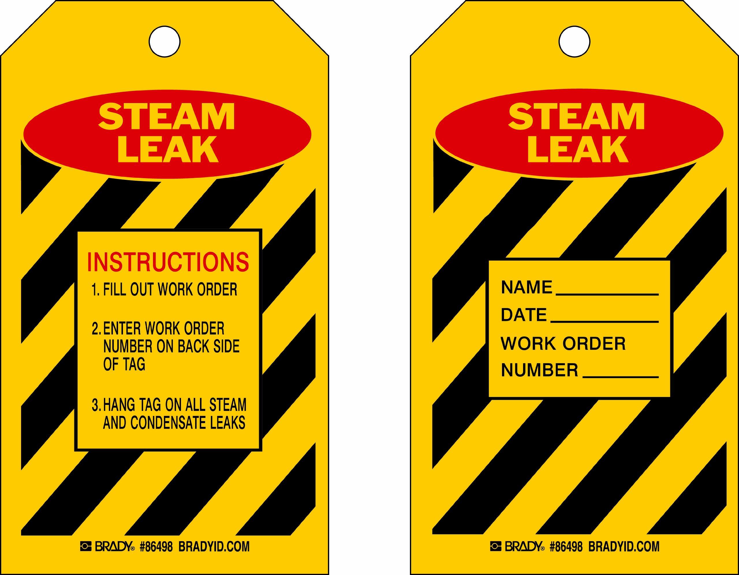 Brady  86498 7'' Height x 4'' Width, Heavy Duty Polyester (B-837), Red/Black on Yellow Steam Leak Tags (10 Tags) by Brady