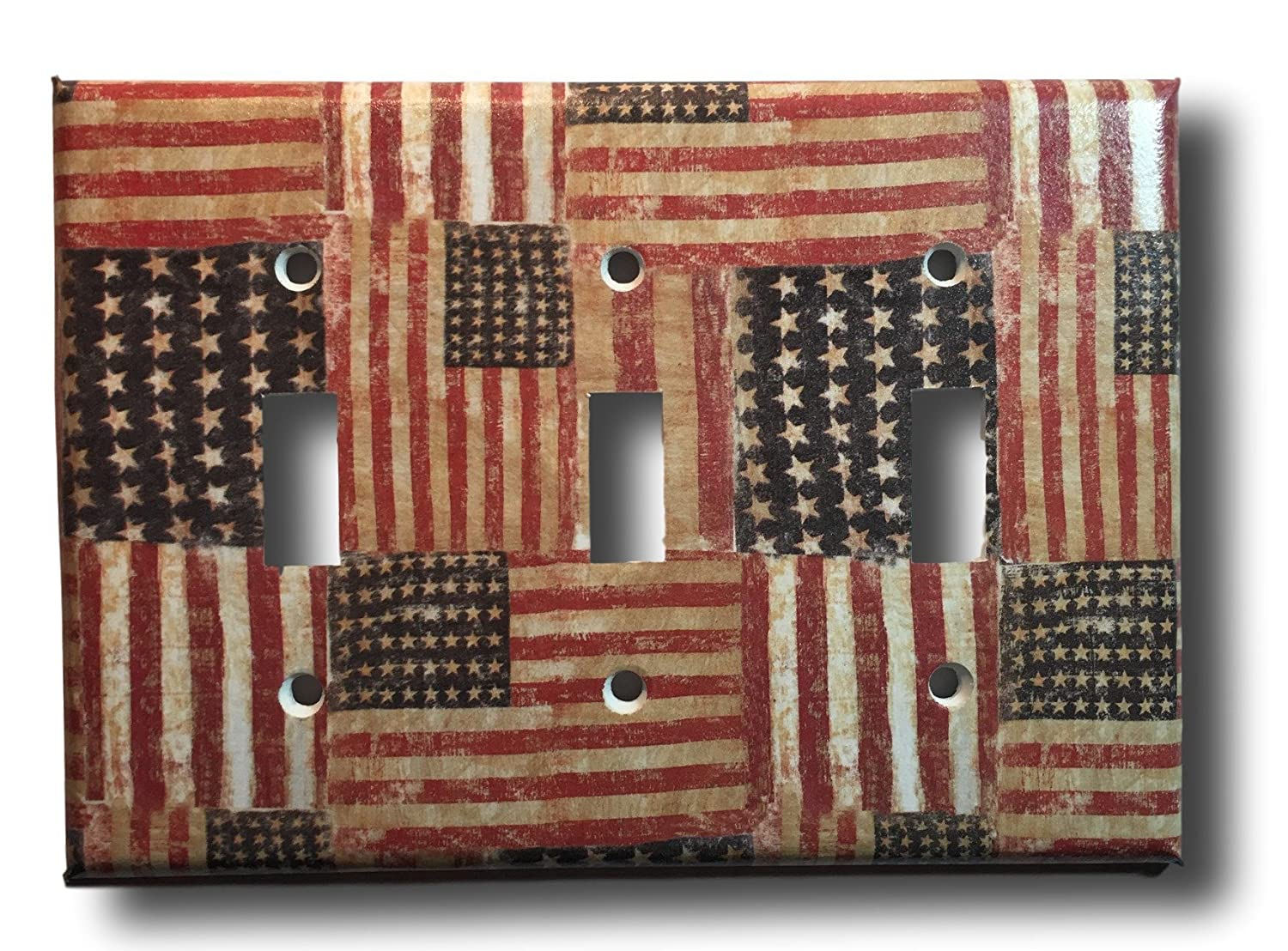 Rustic American Flag Triple Toggle Light Switch Cover Wall Plate Americana Country Decor