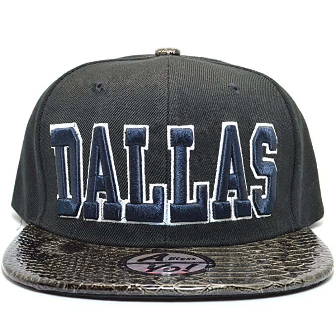 Amazon.com: ablessyo Dallas 3d bordado Gorra Plana Bill ...
