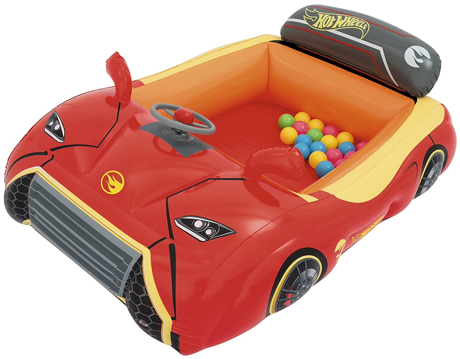 Bestway Hot Wheels Children's Inflatable Car Ball Pit, Includes 25 Balls 93404