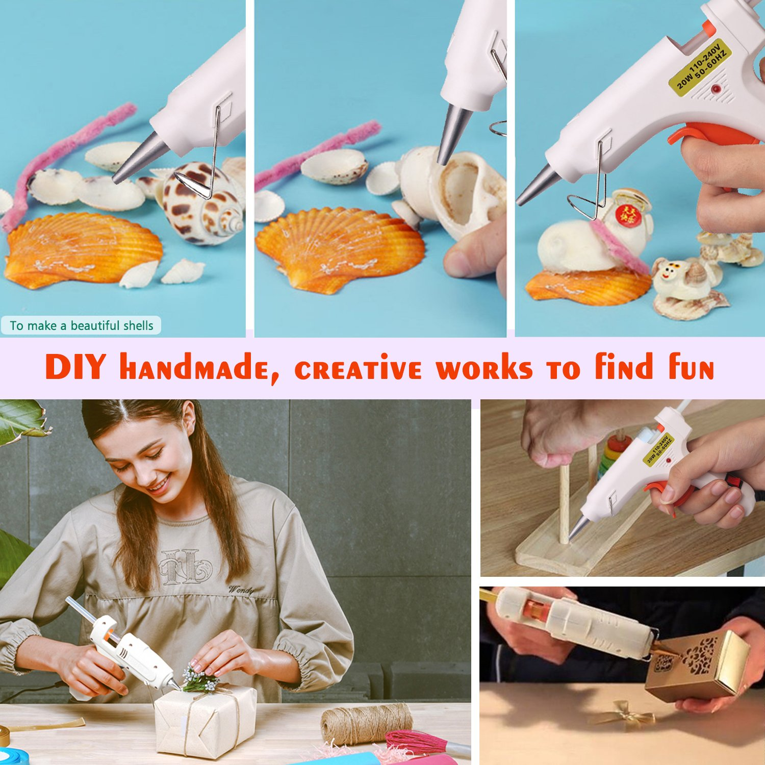 Hot Melt Glue gun with 30 pcs free glue sticks, High temperature melting glue gun with safety stand and built in fuse for over heat protection for small craft projects, home, office and quick repair by FLY5D (Image #4)