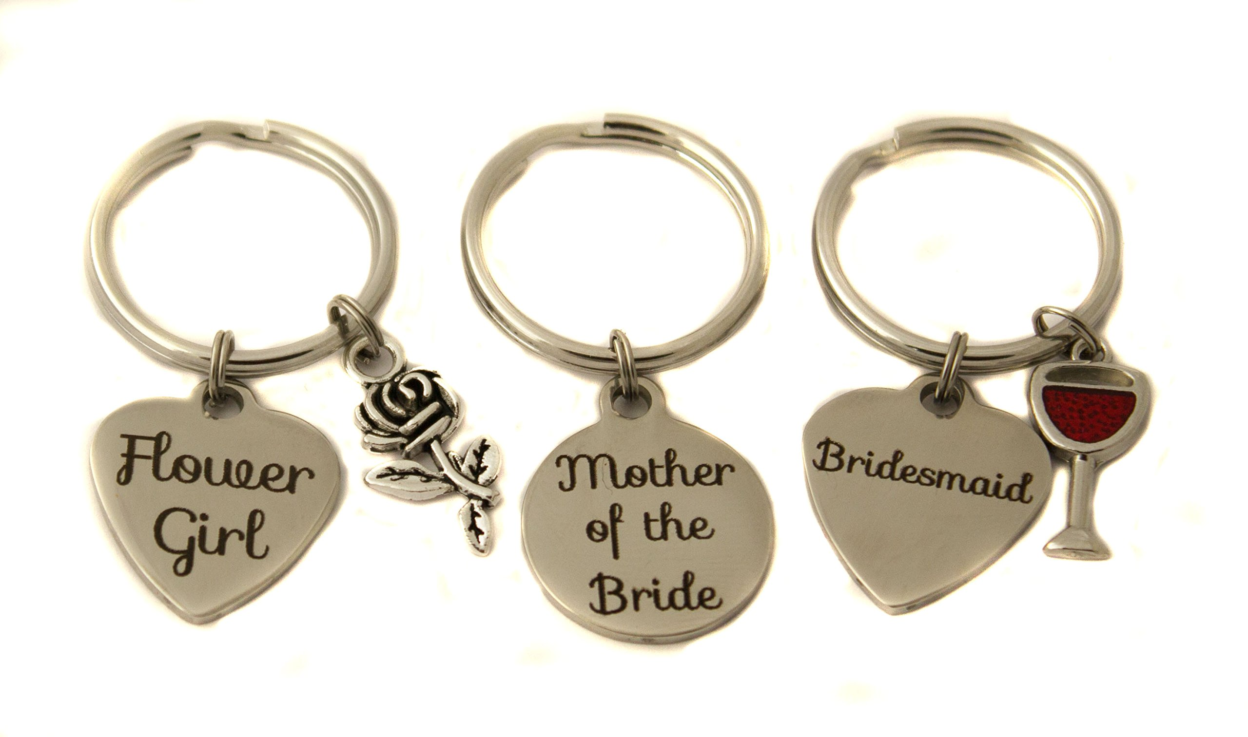 Heart Projects Stainless Steel Bridal Party Charm Keychain Bag Charm Wedding Gift