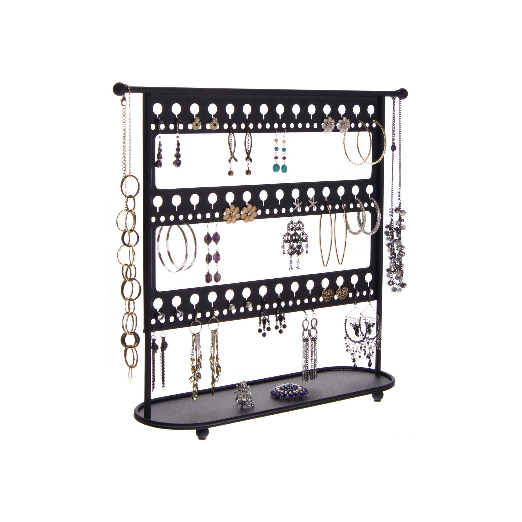 Earring Holder Organizer Stand Hanging Jewelry Display Necklace Tree Storage Rack with Tray, Laela Black
