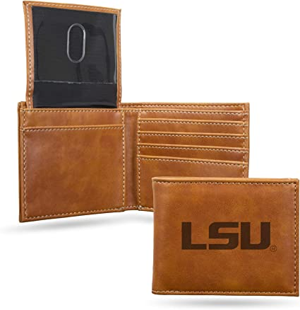 Brown NCAA LSU Tigers Zep-Pro Pull-Up Leather Trifold Embossed Wallet