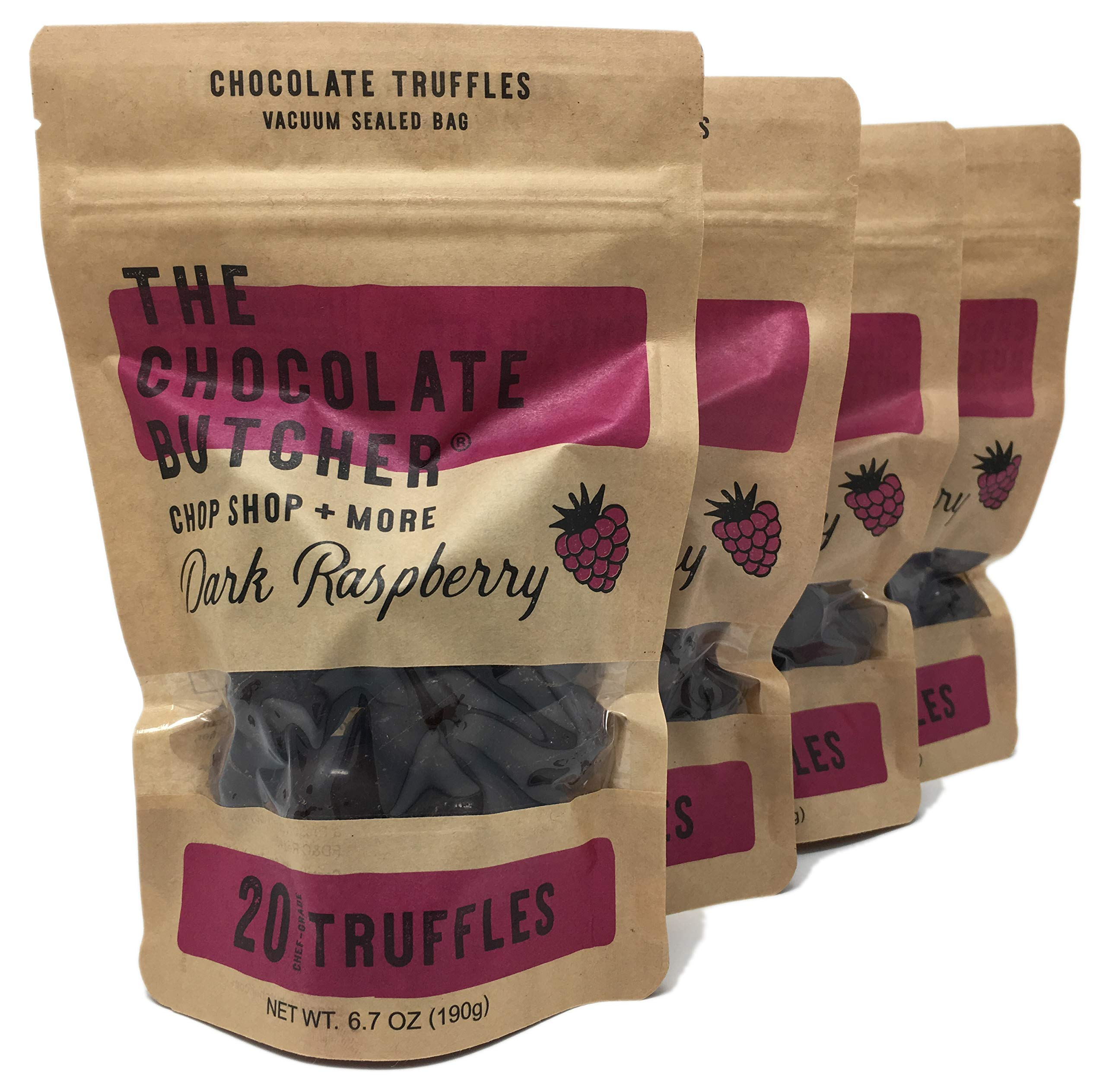 Chef-Grade Raspberry Dark Chocolate Truffles (Four Bags-80 Truffles) by The Chocolate Butcher