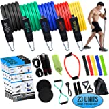 Fitpad Resistance Exercise Bands Fitness Bundle: 23 Piece Complete Home Workout - Resistance Bands Set w/ 5 Stretch Bands, Yo