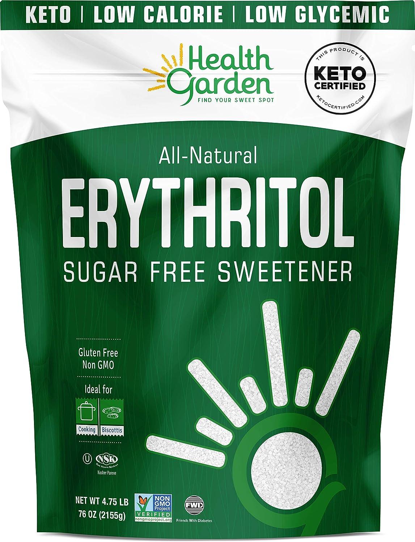 Health Garden Erythritol Sweetener - Non GMO - Gluten Free - Sugar Substitute - Keto Friendly - Tastes Like Sugar (4.75 lbs)