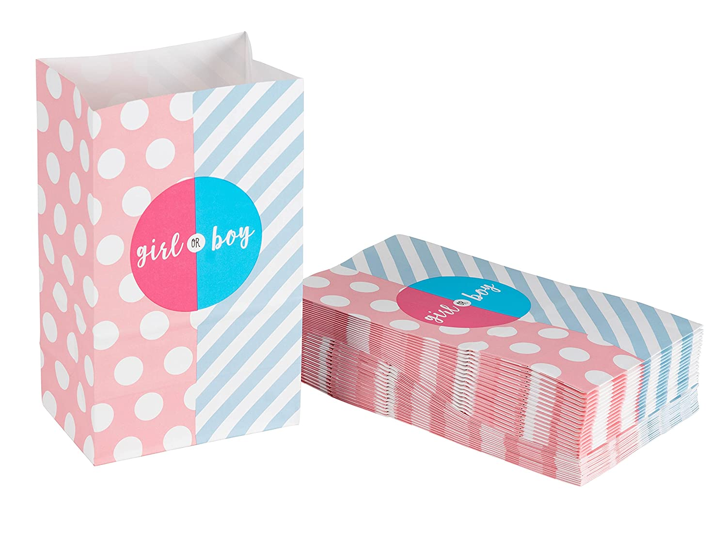 Blue Panda Party Treat Bags - 36-Pack Gift Bags Gender Reveal Party Supplies Paper Favor Goody Bags for Baby Shower Recyclable Treat Bags - 5.2 x 8.7 x 3.3 inches Pink and Blue