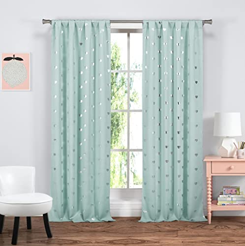 Blue and White Heart Print Insulated Energy Saving Blackout Window Grommet Top Curtains 38 inch Wide by 84 Long Assorted Colors Set of 2 Panel Room Darkening Drapes