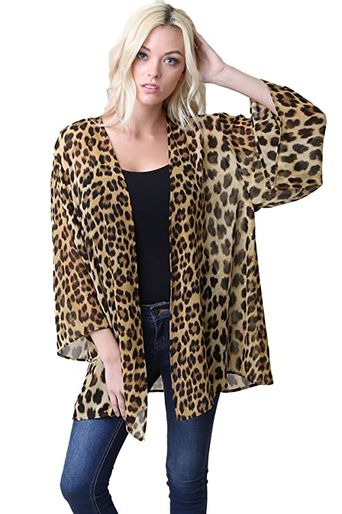 Women's Leopard Print Chiffon Kimono Robe Cardigan Cover Up (Brown, Small/Medium)