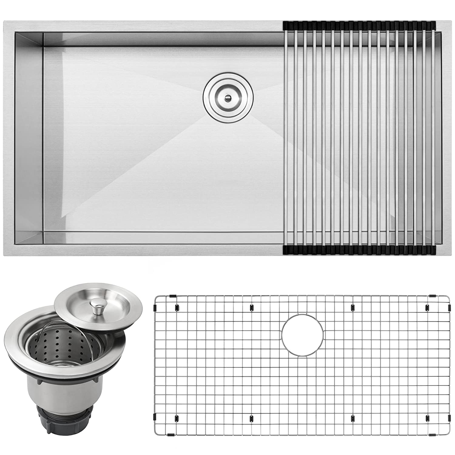 36 Ticor S3700 Pacific Series 16-Gauge Undermount Stainless Steel Single Bowl Zero Radius Square Kitchen Sink with Accessories