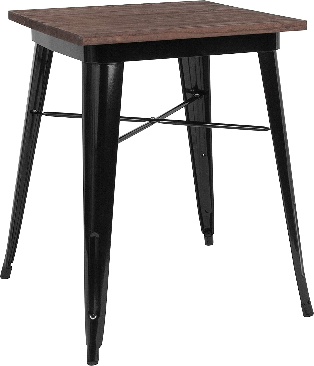 Taylor + Logan 23.5 Inch Square Metal Indoor Table with Walnut Rustic Wood Top, Black