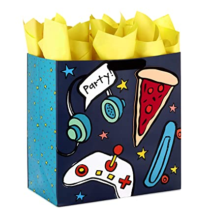 45bcaf104e63 Hallmark Extra Large Gift Bag with Tissue Paper for Birthdays, Kids Parties  or Any Occasion (Pizza, Skateboard, Video Game)
