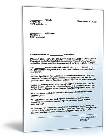 Referenzschreiben Für Ein Catering Word Dokument Amazonde Software