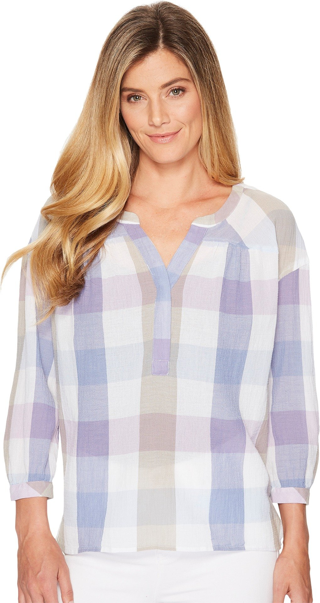 Two by Vince Camuto Women's Long Sleeve Pastel Haze Plaid Henley Oxford Blue X-Large