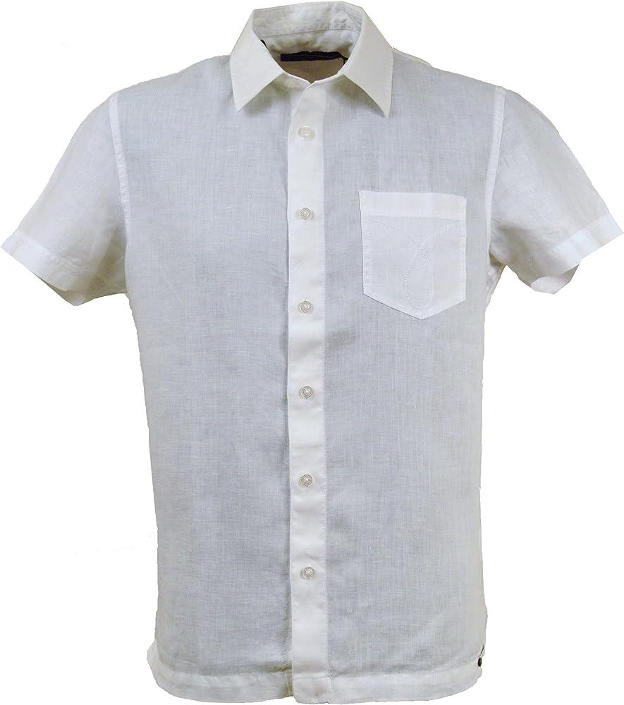 Calvin Klein - Camisa Casual - para Hombre Blanco Blanco Extra-Large: Amazon.es: Ropa y accesorios