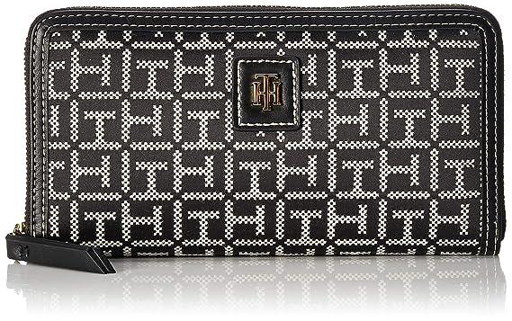 38ed94c0 Amazon.com: Tommy Hilfiger Julia Large Jacquard Zip Wallet, Black ...