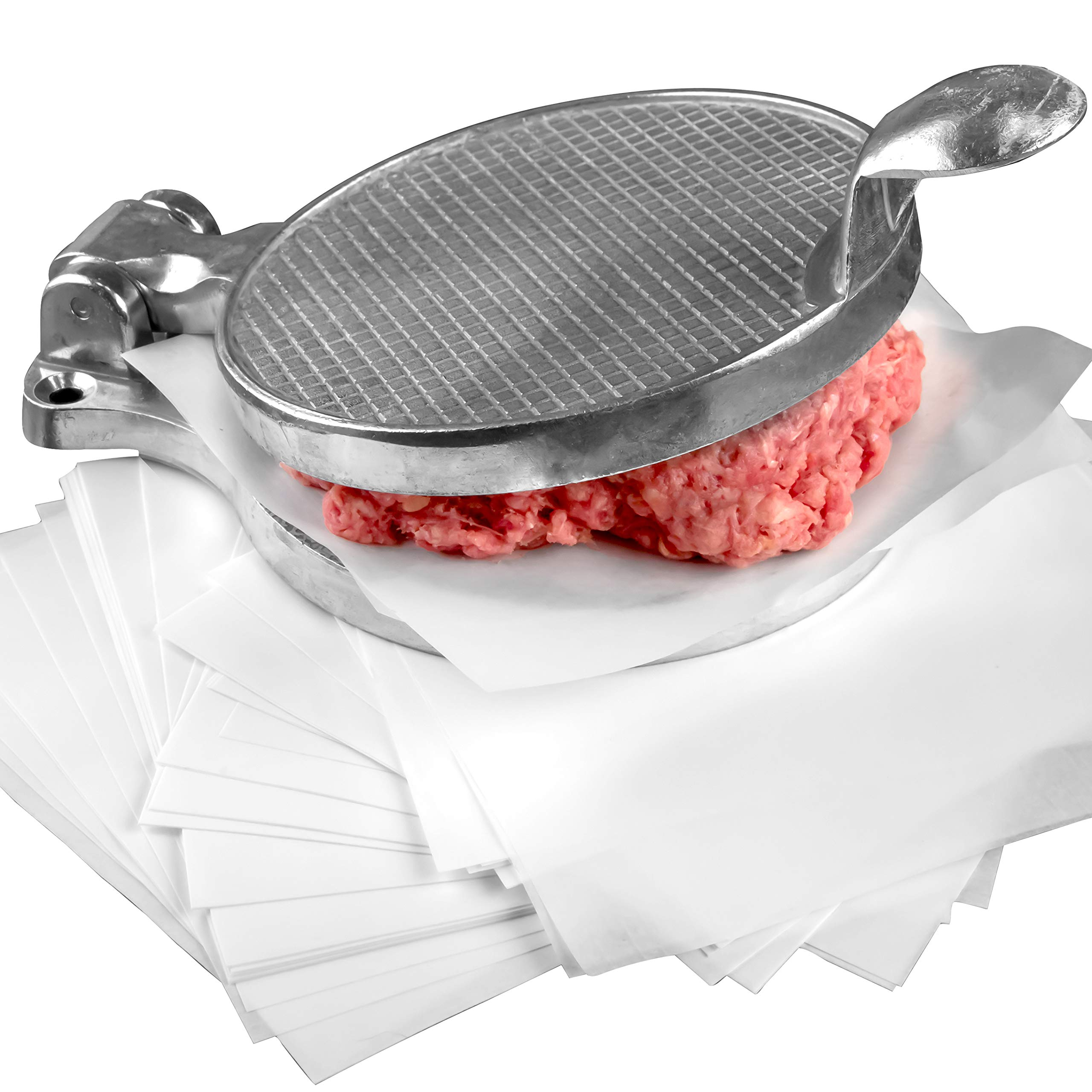 Restaurant-Grade Burger Press and Patty Paper Combo Set. Cast Aluminum 4.5 Hamburger Maker with 1000 Pk 4.75 x 5 Nonstick Wax Butcher Squares! Great for .25 Lb Ground Beef or Chop Steak Patties. by Avant Grub