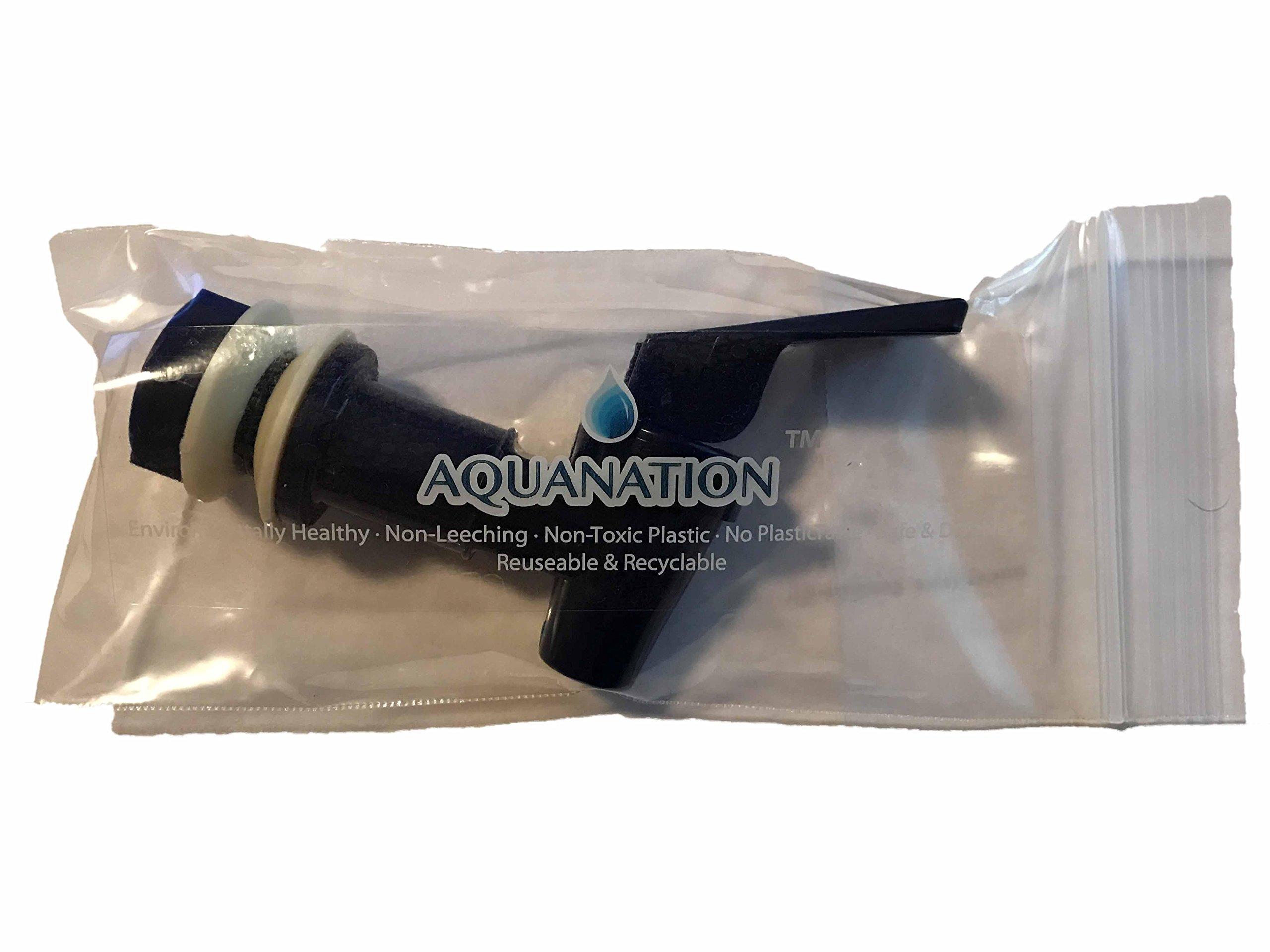 AquaNation BPA Free Replacement Cooler Faucet Water Bottle Jug Reusable Spigot Spout Water Beverage Lever Pour Dispenser Valve Water Crock Water Tap ((2) Twin Pack - Blue) by AquaNation