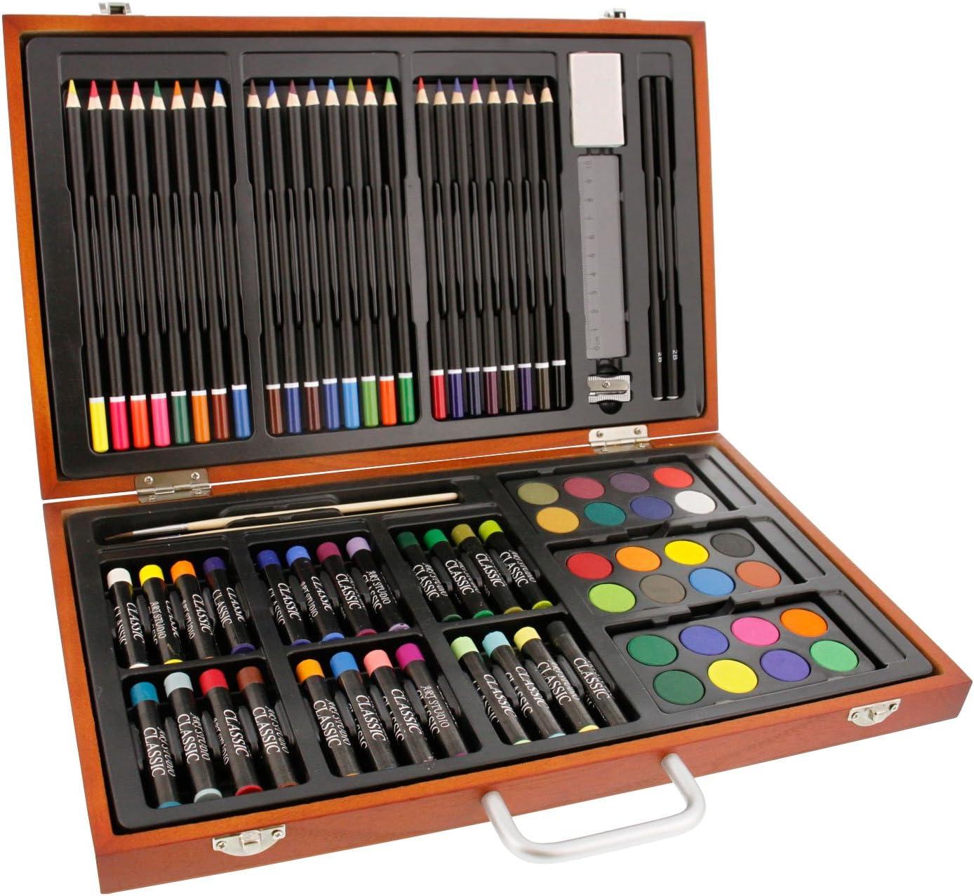 US Art Supply 82 Piece Deluxe Art Creativity Set in Wooden Case with BONUS 20