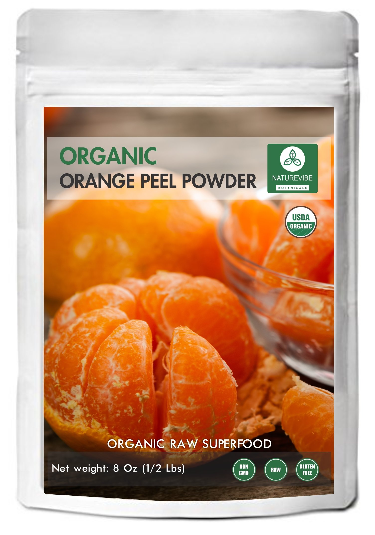 Naturevibe Botanicals Orange Peel Powder (8 Oz) | Citrus sinensis L. | Food Spice | Promotes Anti-Ageing & Skin Health