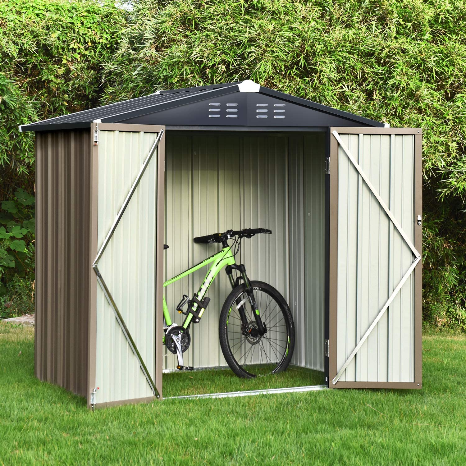 Backyard Garden Storage Sheds 6x4 FT, Galvanized Steel Outdoor Storage Shed with Air Vent and Lockable Door, Gable Roof Patio Sheds & Outdoor Storage