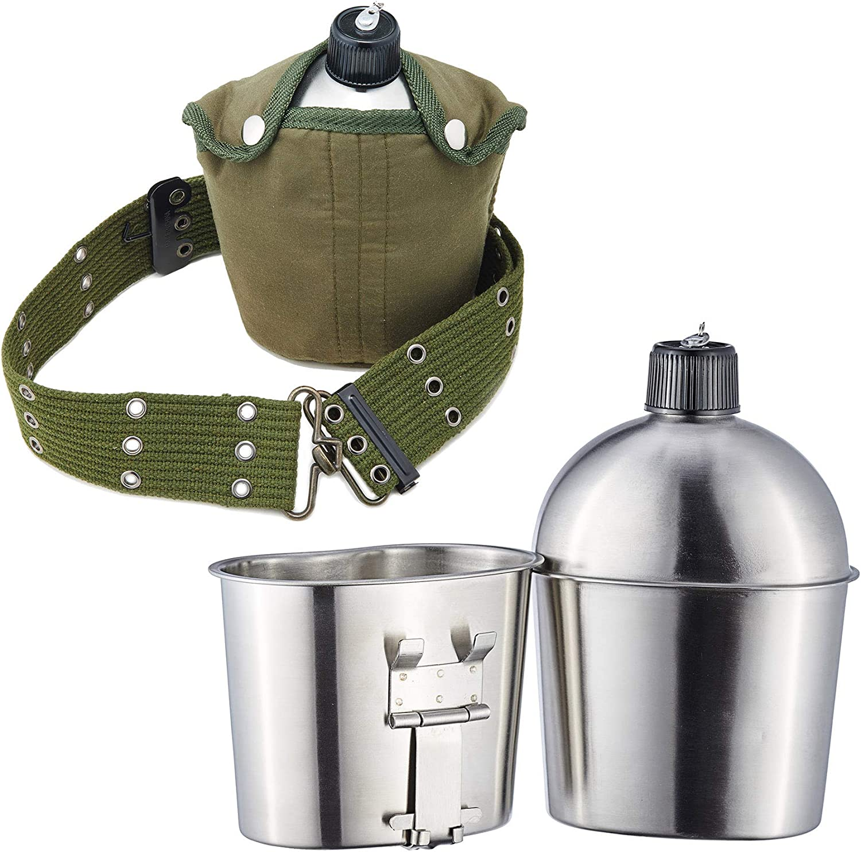 Gemeinsa Cantimploras de Acero Inoxidable Botella Militar de Agua con Taza, Funda y Correa para Acampada y Senderismo Mango Plegable