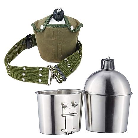 Pinty Botella Militar de Agua Cantimploras de Acero Inoxidable con Taza, Funda y Correa para Acampada y Senderismo