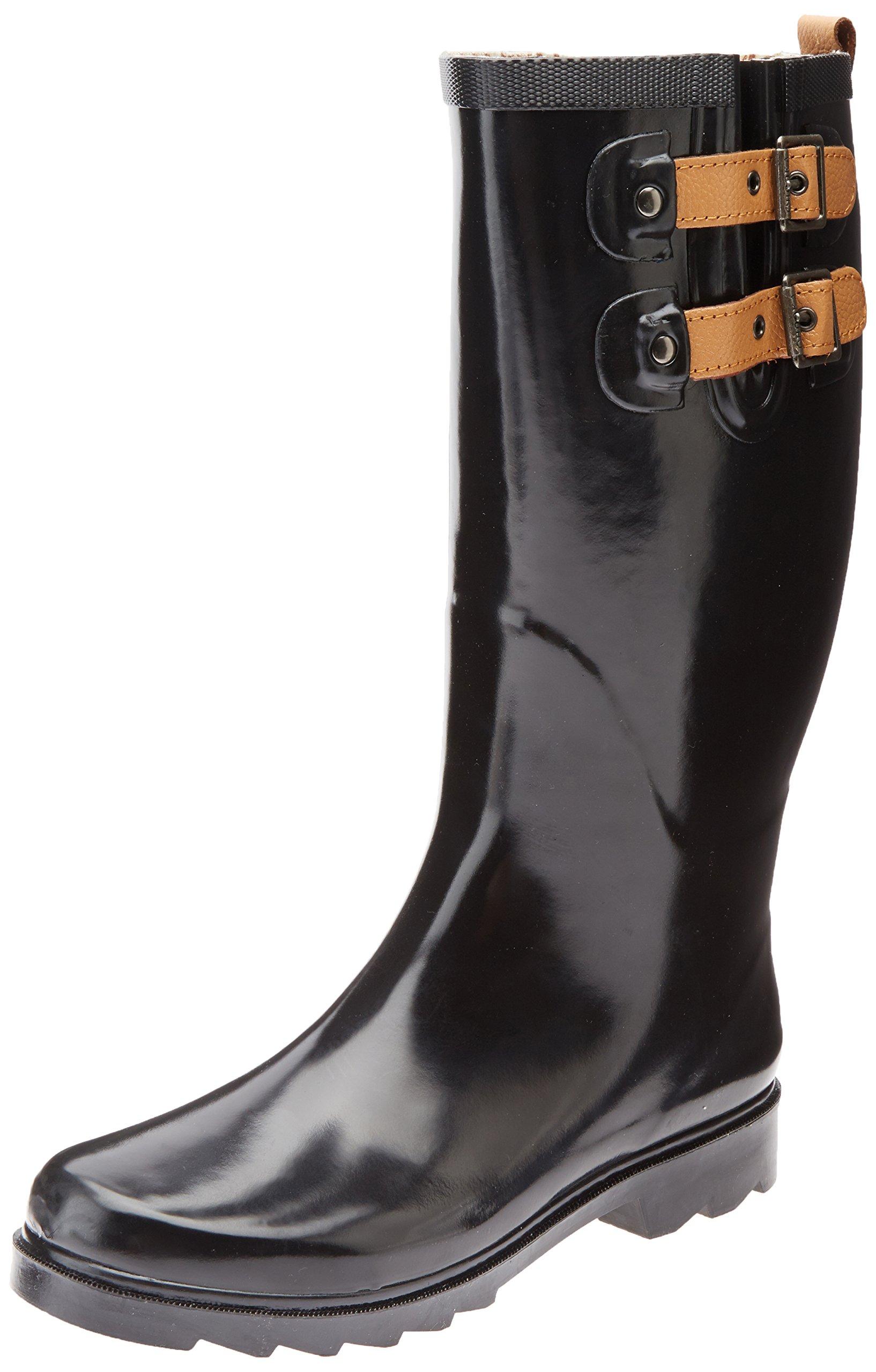 Chooka Women's Tall Rain Boot, Black/Shiny, 6 M US