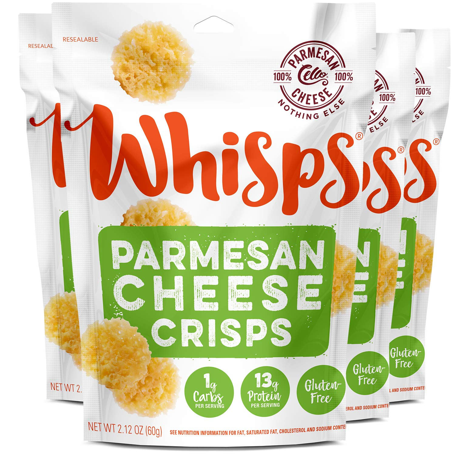 Whisps Parmesan Cheese Crisps | Keto Snack, No Gluten, No Sugar, Low Carb, High Protein | 2.12oz (4 pack)…