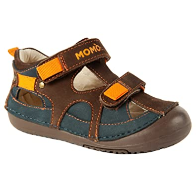 d7a130bb3f57 Momo Baby Boys First Walker Toddler Thomas Leather Sandals Shoes - 4 Navy /Brown