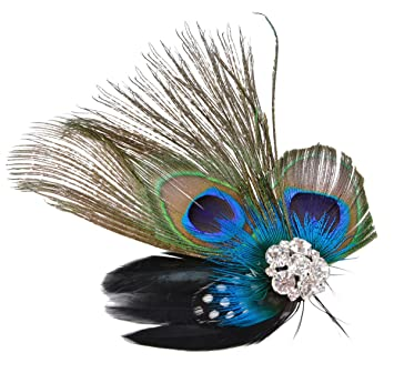 Amazon.com  Fascinator Peacock Feather Headdress Wedding Hair Clip ... c632fb6663c