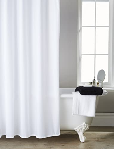 Extra Long Wide Hotel Quality White Shower Curtain 200cms X Including 12
