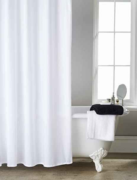 Extra Long/Wide Hotel Quality White Shower Curtain (200cms x 200cms ...