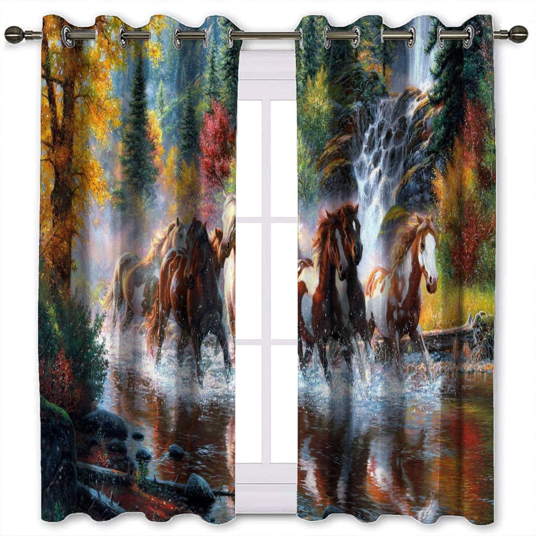 SSKJTC Cortinas de armario con diseño de caballo corriendo en aguas de río para oscurecimiento de cortinas para dormitorio de 72 x 84 pulgadas