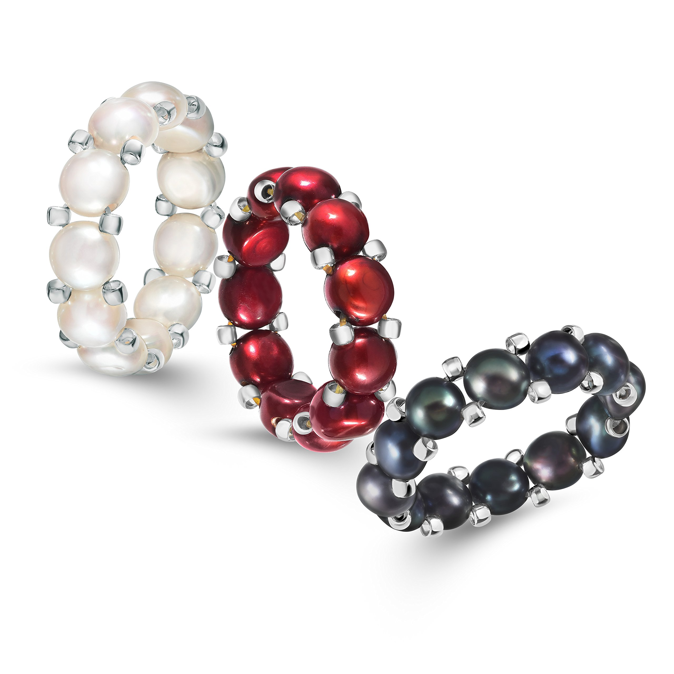 White, Red and Multicolor Freshwater Cultured Pearl Stretch Ring with Silver Beads (6-6.5mm), Set of 3