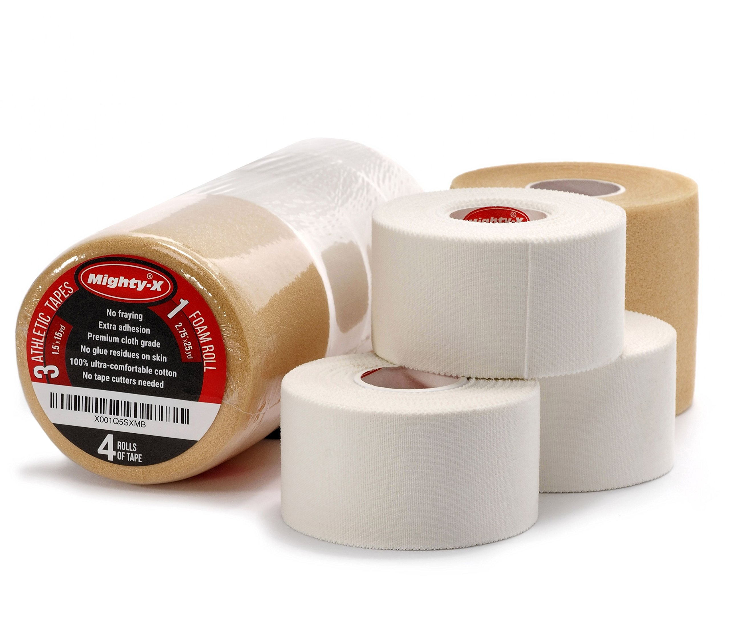 Premium Athletic Tape - 3 Cotton Sport Tape + 1 PreWrap - Sports tape Set - Climbing Tape - Climbing Tape - Boxing Tape - Athletic Tape White - Sports Tape Athletic - Ankle Tape Knee Tape Wrist Tape