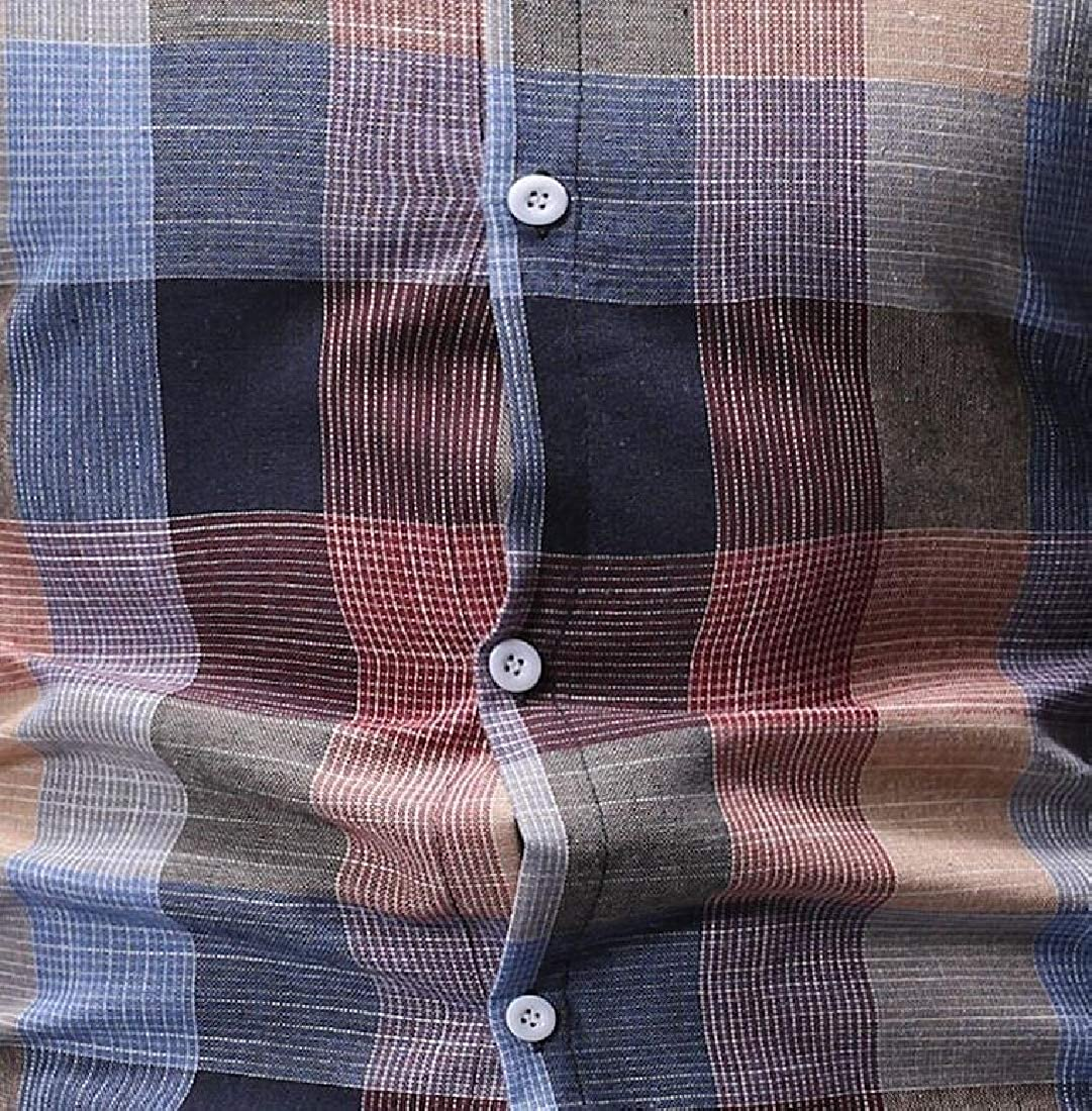 Generic Mens Casual Plaid Long Sleeve Custom Fit Shirt Button Front Shirts