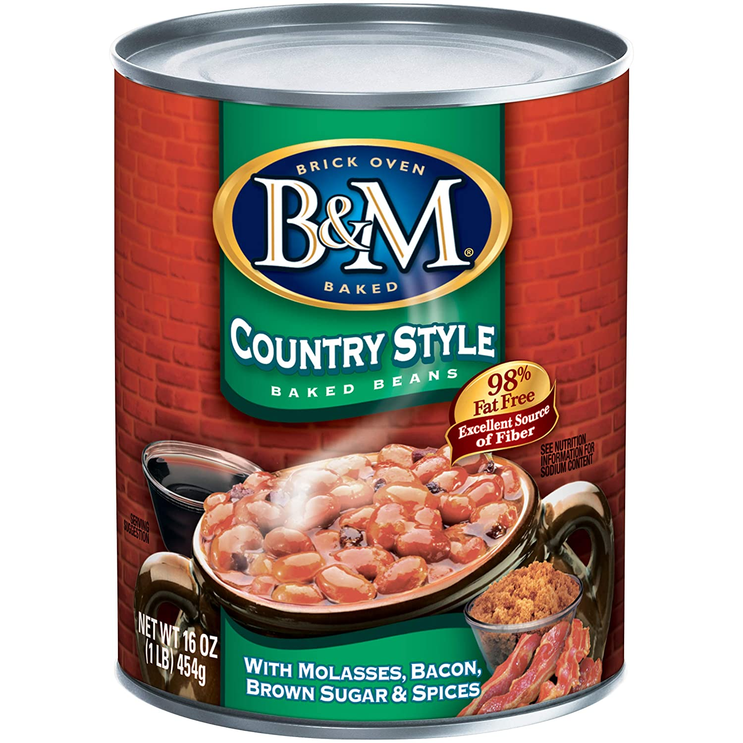 B & M Baked Beans, Country Style, 16 Ounce (Pack of 12)