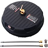M MINGLE 15 Inch Pressure Washer Surface Cleaner, with 2 Extension Wand and 2 Replacement Nozzle, Attachment for Gas and Elec