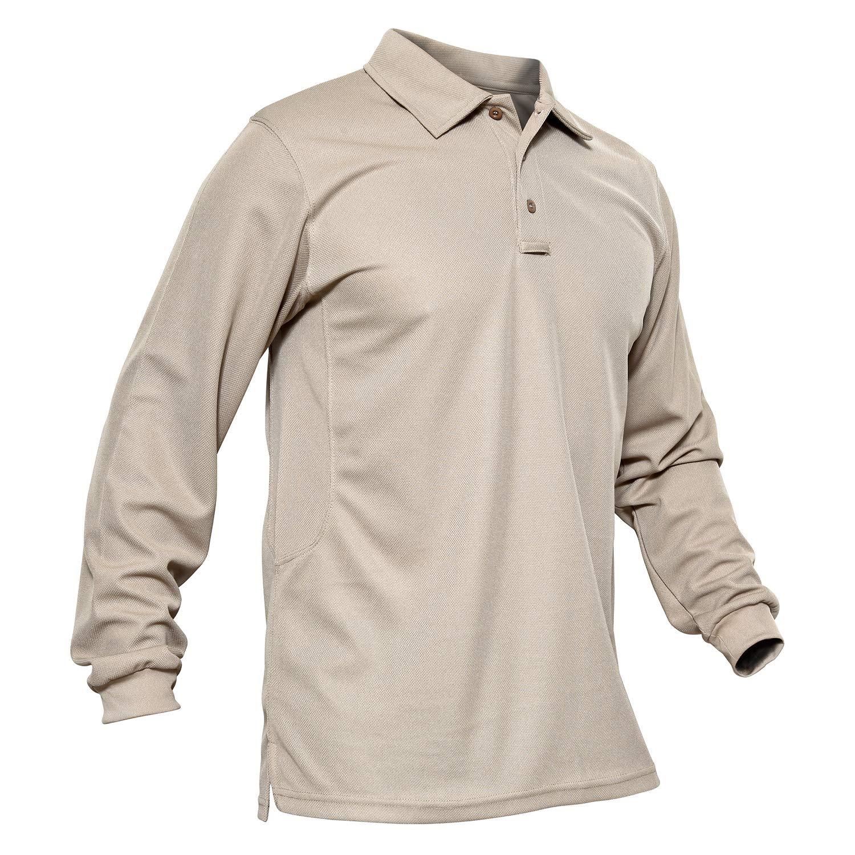 MAGCOMSEN Outdoor Shirt Men Long Sleeve Long Sleeve Polo Jersey Polo Casual Solid Golf Polo Shirt Khaki by MAGCOMSEN