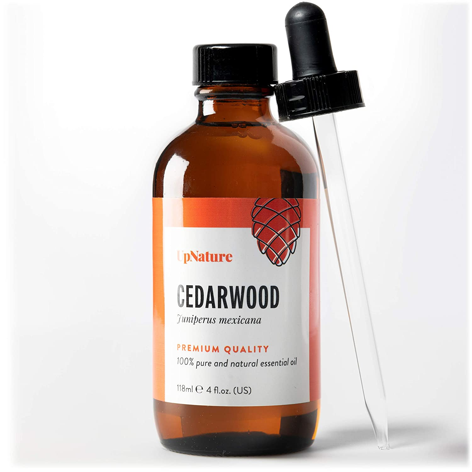 Cedarwood Essential Oil 4 OZ - For Hair Growth, Healthy Skin, Closets, Insects and Relaxing Sleep - 100% Pure & Natural Cedar Wood, Undiluted & Unfiltered, Premium Quality With Glass Dropper