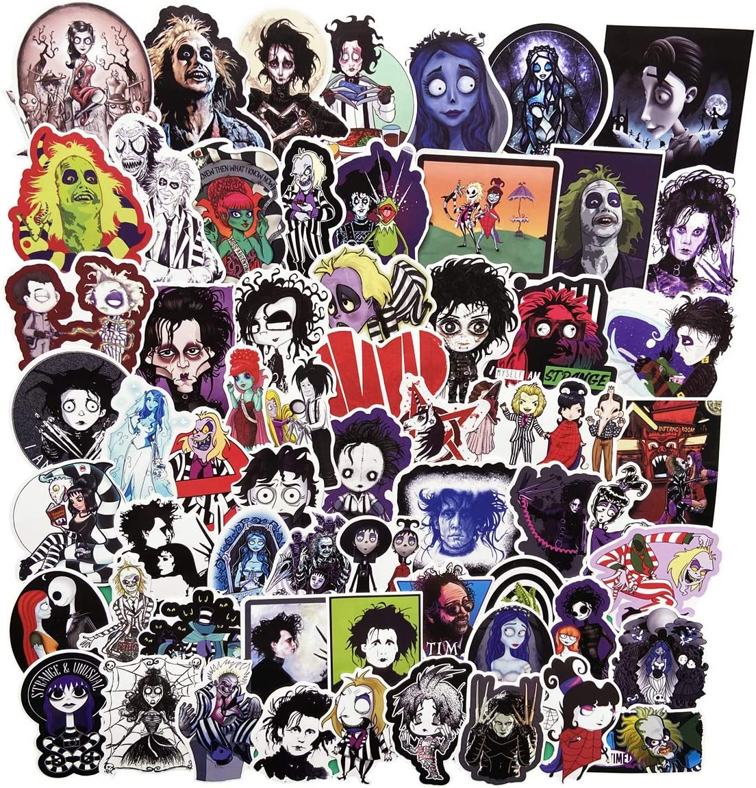 61 Pcs Tim Burton Movies Stickers for Laptop Stickers Motorcycle Bicycle Skateboard Luggage Decal Graffiti Patches (Tim Burton)