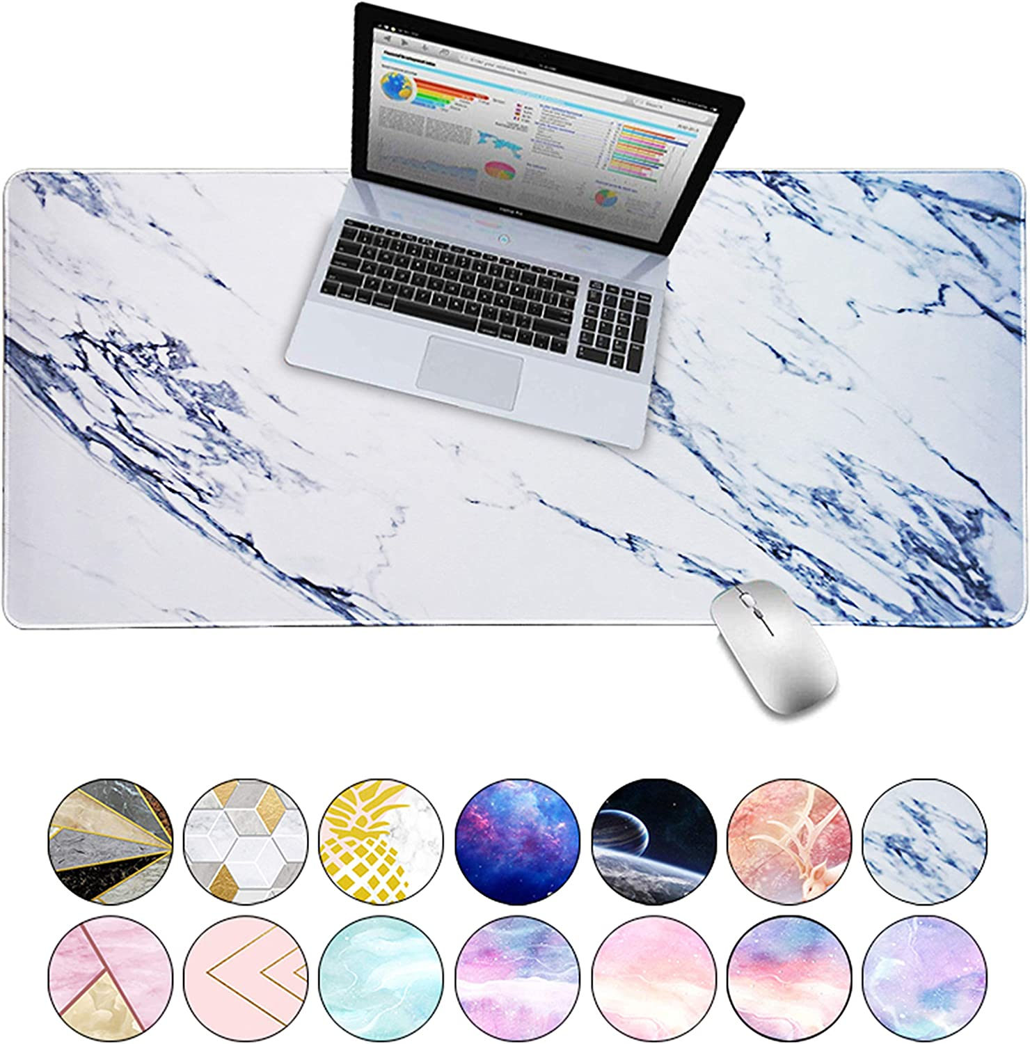 """LuvCase Desk Pad, Office Desk Mat, 31.5"""" x 15.7"""" PU Leather Desk Blotter, Laptop Desk Mat, Waterproof Desk Writing Pad for Office and Home Decor, Thick Gaming Mouse Pad (White Marble)"""