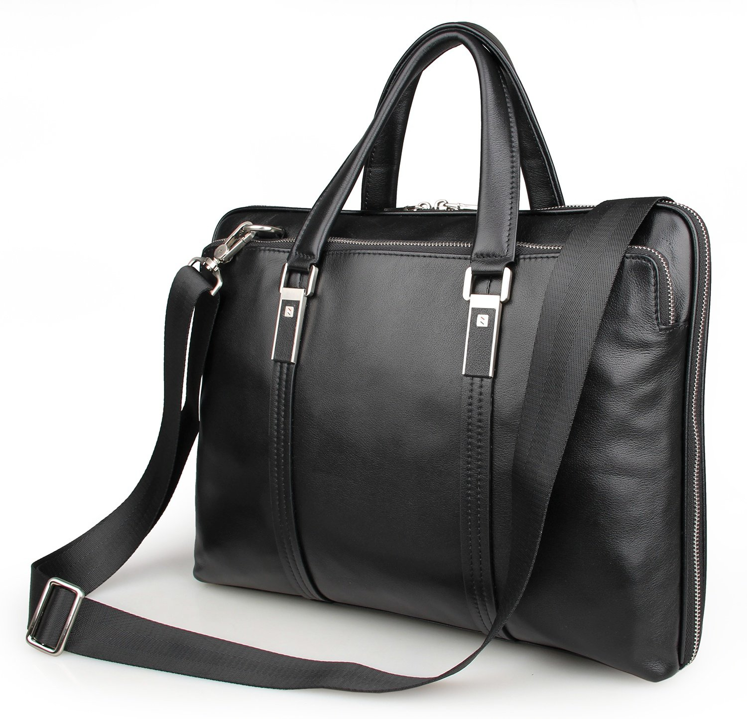 LXFF Men's Calfskin Leather Business Briefcase Bag 14 or 15 Inch Laptop Tote Bag Black