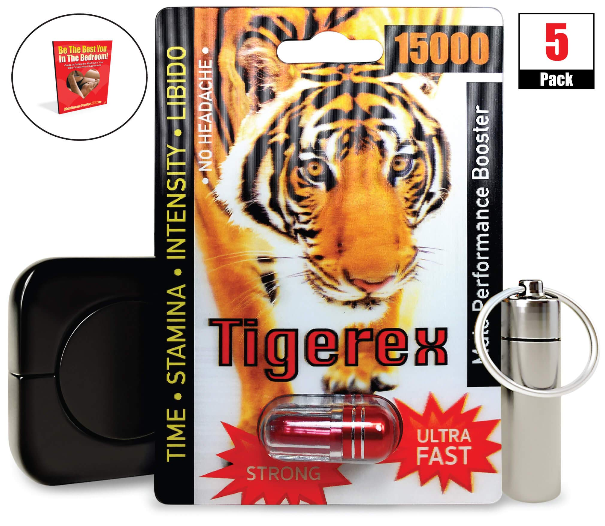 Tigerex 15000 (5) Pack, Natural Male Performance Booster, Increase Energy & Stamina Bundle w/Keychain, Case, Booklet (8 Items)