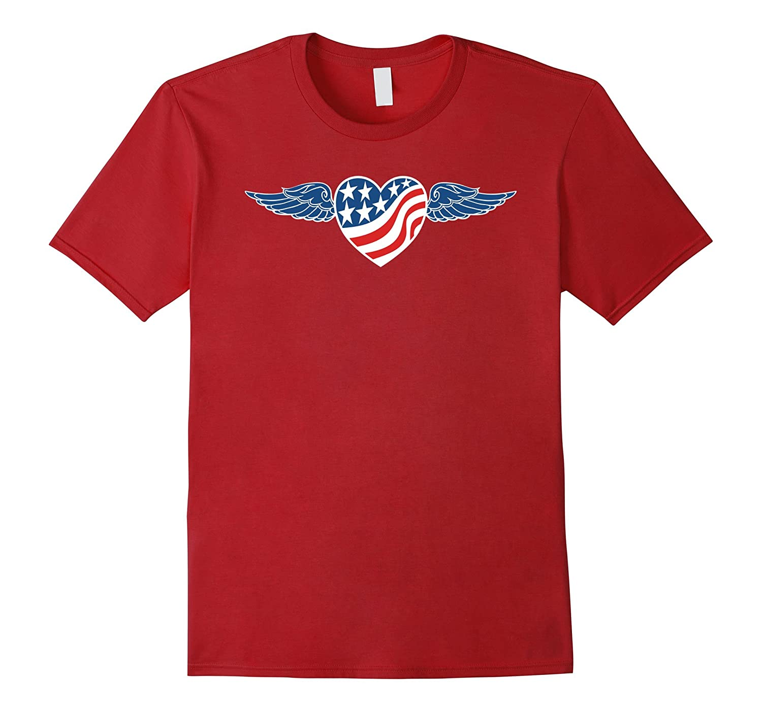 American Flag Heart with Blue Wings-BN